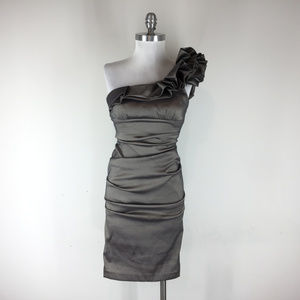 Cache Xs 2 One Shoulder Metallic Ruched dress